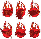 Fire Animal Emblems Stock Image