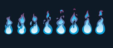 Fire animation sprites. Animation for game or cartoon. Vector illustration of  a fire animation sprites Royalty Free Stock Photo