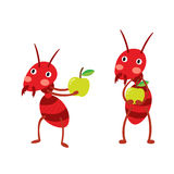 Fire ants with green apples cartoon character. Royalty Free Stock Photos