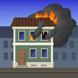 Fire in an apartment building. Flame coming out of a window of an apartment building in the city, vector illustration Royalty Free Stock Photo