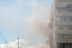 Fire in apartment building Stock Photography