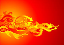 Fire and arrows. Abstract flames and hot arrows Stock Photo