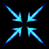 Fire arrows. Four blue fire arrows directed to the centre. Illustration on black background Stock Photography