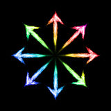Fire arrows. Many colorful fire arrows directed outwards. Illustration on black background Royalty Free Stock Image