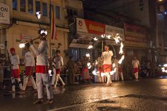 Fire artists at the Esala Perahera festival in Kandy Royalty Free Stock Images