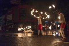 Fire artists at the Esala Perahera festival in Kandy Royalty Free Stock Photos