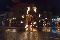 Fire artists at the Esala Perahera festival in Kandy Stock Images