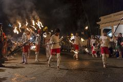 Fire artists at the Esala Perahera festival in Kandy Royalty Free Stock Photography