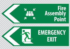 Fire Assembly Point and emergency exit Sign. The sign for emergency exit and rescue Stock Photos