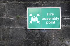 Free Fire Assembly Point Sign At Workplace Car Park Stock Photos - 161193653