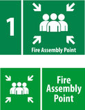 Fire Assembly Point Sign. The sign for emergency exit and rescue Stock Images