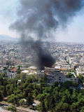 Fire in Athen. Smoke during the fire accident in the city stock photo