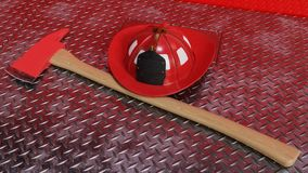 Fire Axe and Helmet on Fire Engine. A fire axe and helmet on the front of a fire engine diamond plate bumper. 3D Illustration Royalty Free Stock Photos