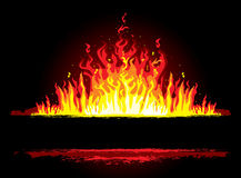 Fire background. Fire on black background,  illustration Stock Image