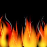 Fire background. Fire flames and smoke border over black Stock Photos