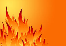 Fire background. Flamed fire frame background in white Royalty Free Stock Image