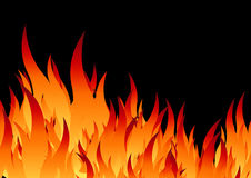Fire background. Flamed fire stencil in black background Royalty Free Stock Images