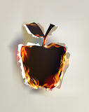 Fire background, apple Stock Photos