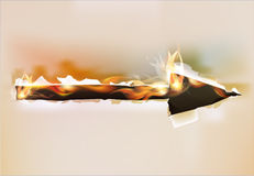 Fire background, arrow. Fire background burning arrow, pointer Royalty Free Stock Image