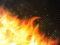 Fire background with flames, red fire sparks, glowing particles and smoke. Realistic flames on transparent background. Burning flames. Bonfire, campfire or Stock Photo