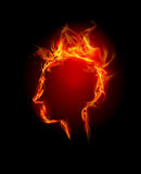 Fire background, headache. Fire background made od flames, human's head Stock Photos