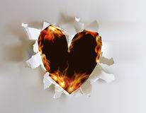 Fire background, heart. Fire background burning heart in love Stock Image
