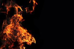Fire background in the night Royalty Free Stock Photo