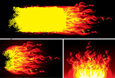 Fire background set. Set fire on black background,  illustration Royalty Free Stock Photo