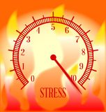 Fire Background Stress Meter. An abstract fire type effect background with a stress level meter on ten Royalty Free Stock Image