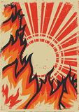 Fire background with sun. Fire background with sunlight.Vector grunge poster on old paper texture Stock Images