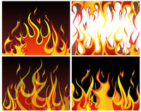 Fire backgrounds set. Inferno fire vector backgrounds set  for design use Stock Photos