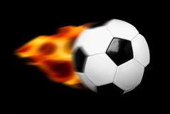 Fire Ball. Soccer ball motion with flames Royalty Free Stock Photo