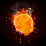 Fire Ball. Isolated on Black Background. Computer Design Stock Image