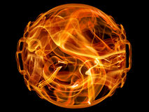 Fire ball. Ball on fire isolated on black Royalty Free Stock Image