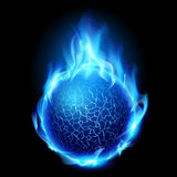 Fire ball. Blue fire ball. Illustration on black background for design Royalty Free Stock Image