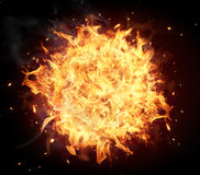 Fire ball. Isolated on black background Stock Images