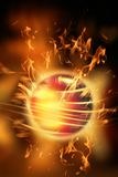 Fire ball. On the fire background Royalty Free Stock Images