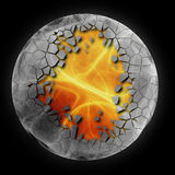 Fire ball. Abstract illustration of 3d flaming ball background Stock Photography
