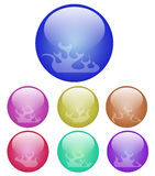 Fire ball button. 3D sphere with fire flames inside Stock Photo