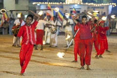 Fire Ball Dancers perform during the Kataragama Festival in Sri Lanka. Royalty Free Stock Photo