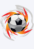 Fire and ball.eps. Flame and soccer ball isolated on white background Royalty Free Stock Photography
