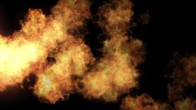 Fire ball explosion detailed fire background. Burning fire ball explosion flowing detailed fire with black background