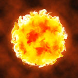 Fire ball explosion sphere hot licking flame. Illustration of a blasting fire ball with strong burning flame. Sunny hot sphere with licking flames Stock Image
