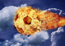 Fire ball. Football in flames across the sky royalty free stock photos
