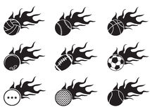 Fire ball icons. Isolated black fire ball icons from white background Stock Photography
