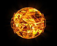 Fire ball with money texture. On black background Stock Images