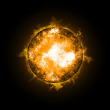 Fire Ball Planet. Illustration on black background Stock Photography