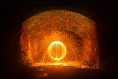Fire Ball. Fire sparks dome under old railway bridge in Cornwall Royalty Free Stock Photography