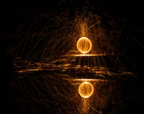 Fire ball of spinning hot steel wool Royalty Free Stock Photos