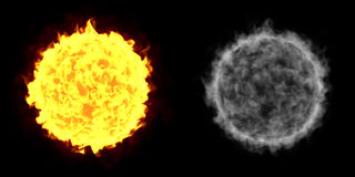 Fire Ball Sun. A Fireball isolated on a black background with alpha channel Stock Images